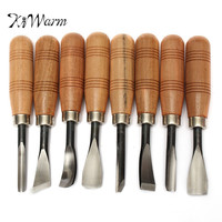 KiWarm 8pcs Leather Carving Wood Handle Chisels Sets Woodworking DIY Tools Professional Gouges For Home Leathercraft