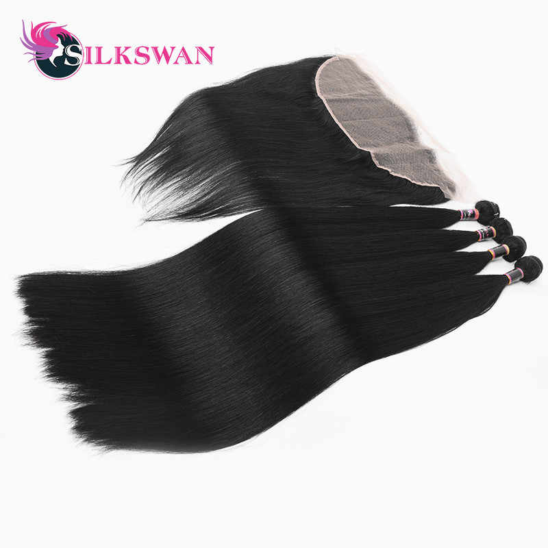 Silkswan Hair Peruvian Human Hair 3 Bundles With 13x4 Lace Frontal Remy Hair 4 PCS/LOT 8-28 Inch Free Shipping