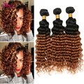 Loira Brasileira Onda Profunda Do Cabelo 3 pcs 1b 30 Ombre Brasileira cabelo Humano Ombre Ombre Cabelo Brasileiro profunda curly weave bundles venda