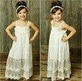 Dulces Babys Verano Vestido de Playa Larga de Encaje Blanco Vestido de verano Vestidos de Las Muchachas Sólido Vestido de BOHO Envío Gratis