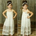 Sweet Babys Summer Beach Dress Lace Long White Sundress Dresses Girls Solid BOHO Dress Free Shipping