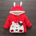 Niños abrigo de Invierno 2016 Gato de Dibujos Animados Chica Abrigo Bebé Engrosada Super caliente Chaqueta Con Capucha ropa de Algodón acolchado