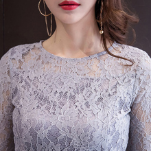 2017 spring women's OL sexy lace hollow suits female satchel hip pencil dress sexy hollow out tops 2 piece sets