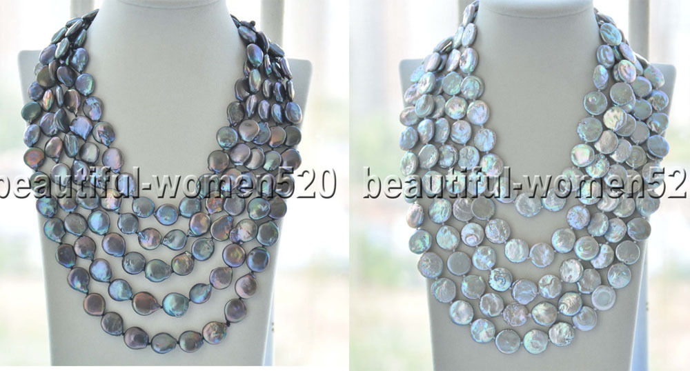 X0458 Long 15mm gray & Black coin freshwater pearl Necklace 100inch цены онлайн