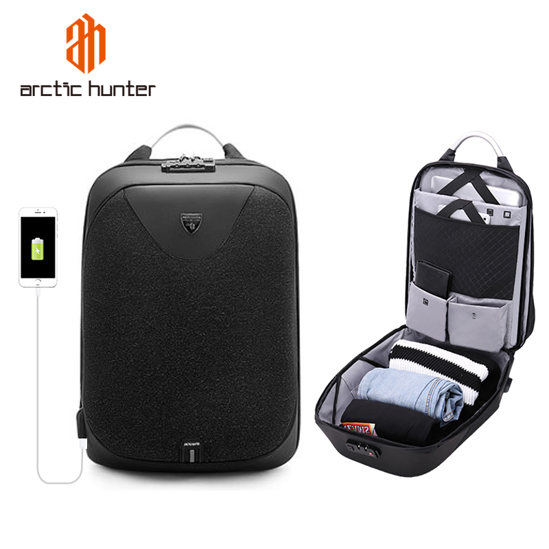 Arctique HUNTER 00208 multifonction Anti-vol sac à dos avec serrure hommes sac à dos pour ordinateur portable USB charge étanche voyage sac à dos