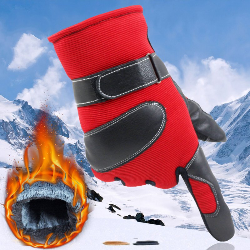 ФОТО The new men's winter thick section thick warm winter cycling riding ski gloves plus velvet motorcycle