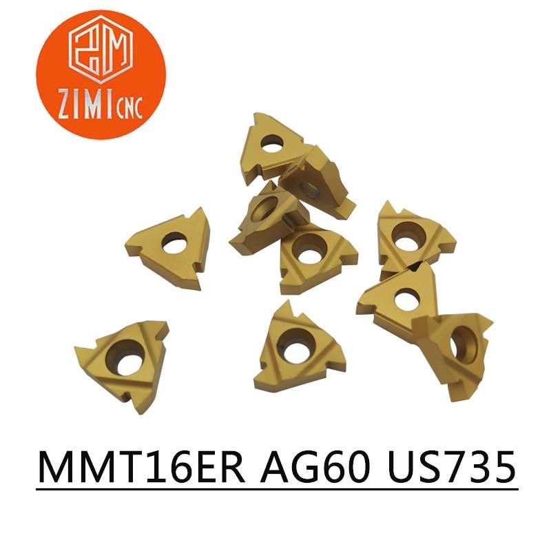 10 PCS MMT 16ER AG60 US735 Carbide Insert Thread Turning Tool Turning Tool Lathe Tool Milling Cutter CNC Tool 16ERAG60
