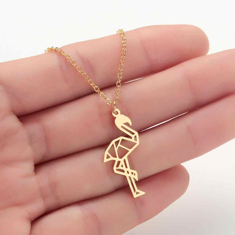 Chandler Stainless Steel Flamingo Necklace Tropical Bird Collars Silver Gold Rose Gold Exotic Bird Kid Jewelry Teen Party Gifts