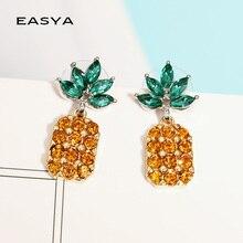 be1cbdf03b4749 EASYA 3 Colors Sparkling Crystal Pineapple Earrings For Women Girls Gold  Color Metal Tropical Fruit Stud