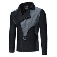 New men's fashion oblique zipper contrast stitching slim double sided short trench coat long jacket men clothes 2018 streetwear