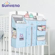 Портативный органайзер для детской кроватки SUNVENO, подвесная сумка для детских принадлежностей, сумка для хранения подгузников, Комплект постельного белья