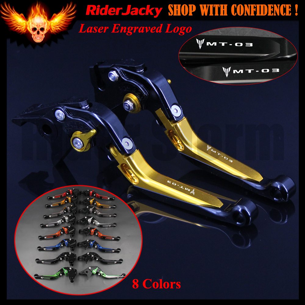 Logo Golden CNC Adjustable Extendable Motorcycle Brake Clutch Lever For Yamaha MT-03 MT 03 MT03 2006-2011 2007 2008 2009 2010 2016 hot sale golden color cnc aluminium motorcycle brake clutch lever protect guard for yamaha mt 01 2004 2009