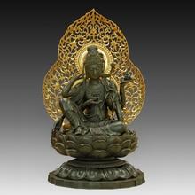 Antiques Chinese Sculpture  Buddha Bronze Tibetan King bodhisattva on  Lotus Statue Buddhist Temple Furnishing Articles
