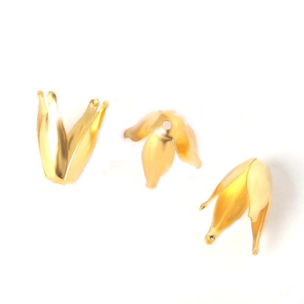 Penney 100 шт./лот 8*13 мм цвет золотистый 4 лепестки цветка шапочки металла гладить для изготовления ювелирных изделий браслет ожерелье выводы