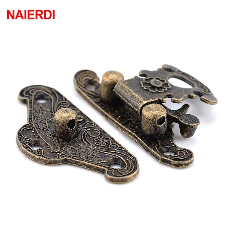 NAIERDI 4pcs Antique Bronze Hasp Latch Jewelry Wooden Box Lock Mini Cabinet Buckle Case Locks Decorative Handle 3 size in Locks from Home Improvement