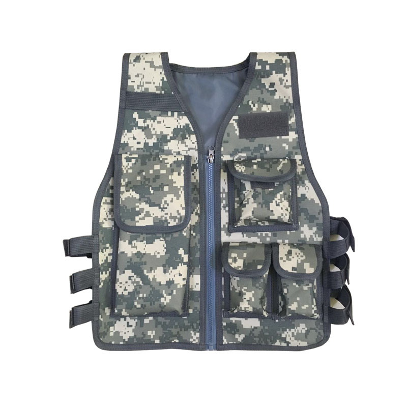 Adult Children Nylon Camouflage Molle Paintball Plate Carrier Tactical Mini Vest Kids Outdoor CS Games Protective Gear Waistcoat