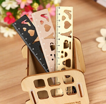 NEW Vintage Tower Series Hollow  Style Wooden Ruler Bookmark 15 CM Metal Straight Ruler