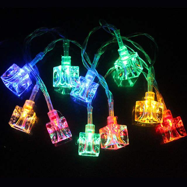 10leds Ice Cube Led Christmas Lights String Outdoor Lighting Battery Powered Led Fairy Lights Festival Decorations Lighting