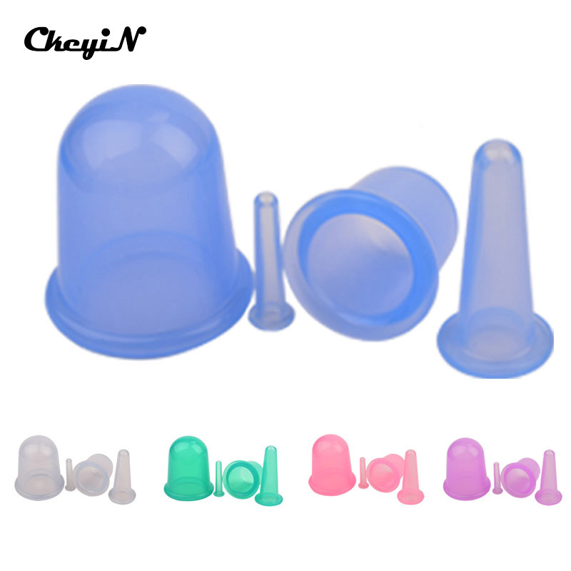CkeyiN 4pcs/set Full Body Massage cup relax Silicone Massage Vacuum Cupping Cups Anti Cellulite Health Care Neck Face back Body