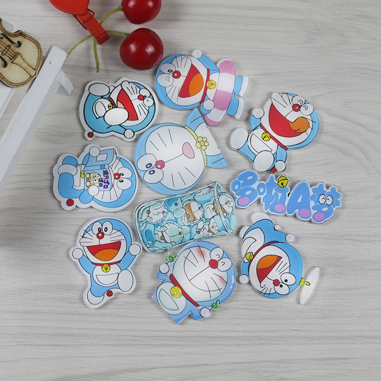 Creative lovely Cartoon Anime character Doraemon stickers magnetic Acrylic Fridge Magnets Home Decor Refrigerator Sticker