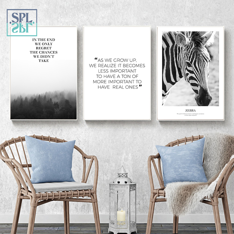 SPLSPL Unframed Nordic Forest Landscape Wall Picture Zebra Animals Canvas Art Print Painting Decor For Living Room