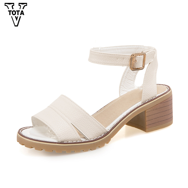 VTOTA New Arrive Platform Summer Sandals Women Square Heel Sandals Women Casual Buckle Strap Comfortable Ladies Sandals FC62 xiaying smile summer new woman sandals platform women pumps buckle strap high square heel fashion casual flock lady women shoes