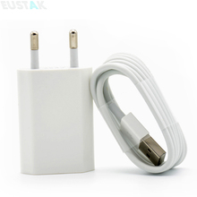 White EU Plug Wall Power Charger Adapter + USB Charging Cable For Iphone 5 5s 5c 6 6s 6s Plus 6 7 plus IOS 8 9 10