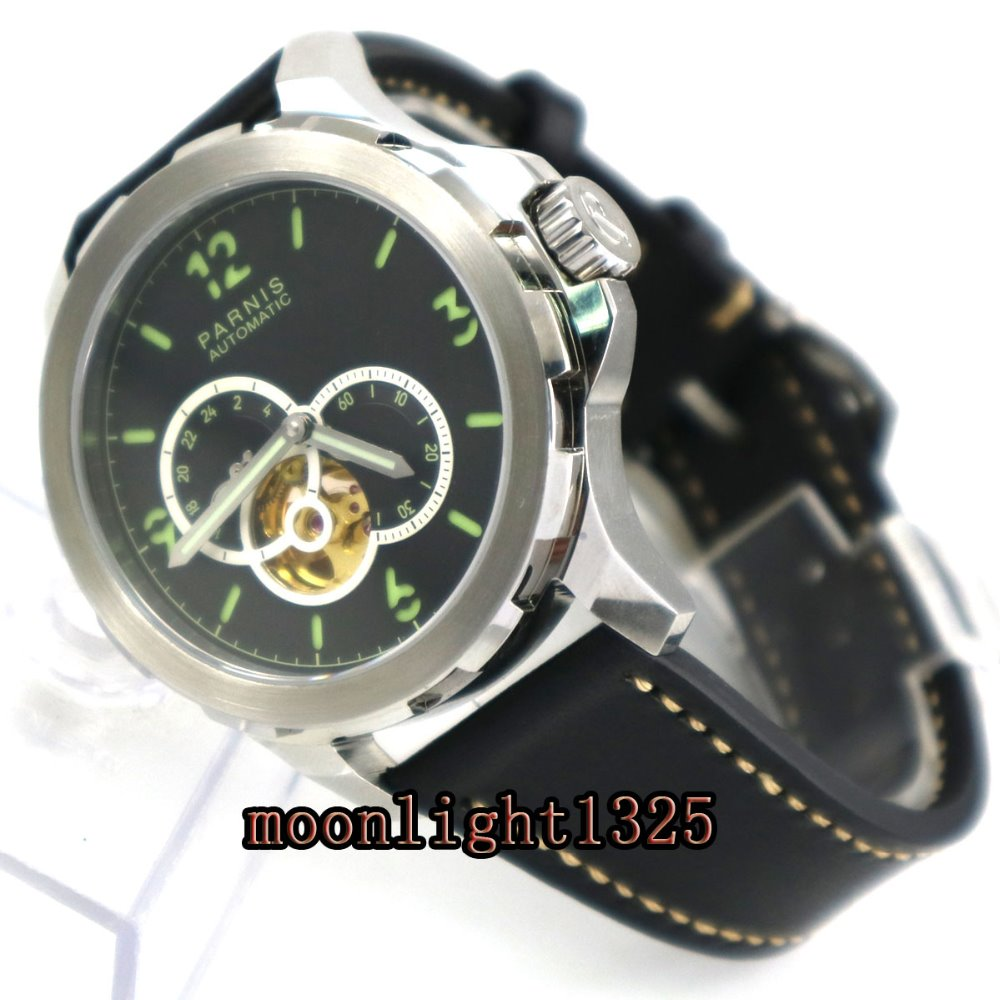 44mm Parnis sandwich black dial Sapphire glass miyota Automatic Mens Watch P9 цена и фото