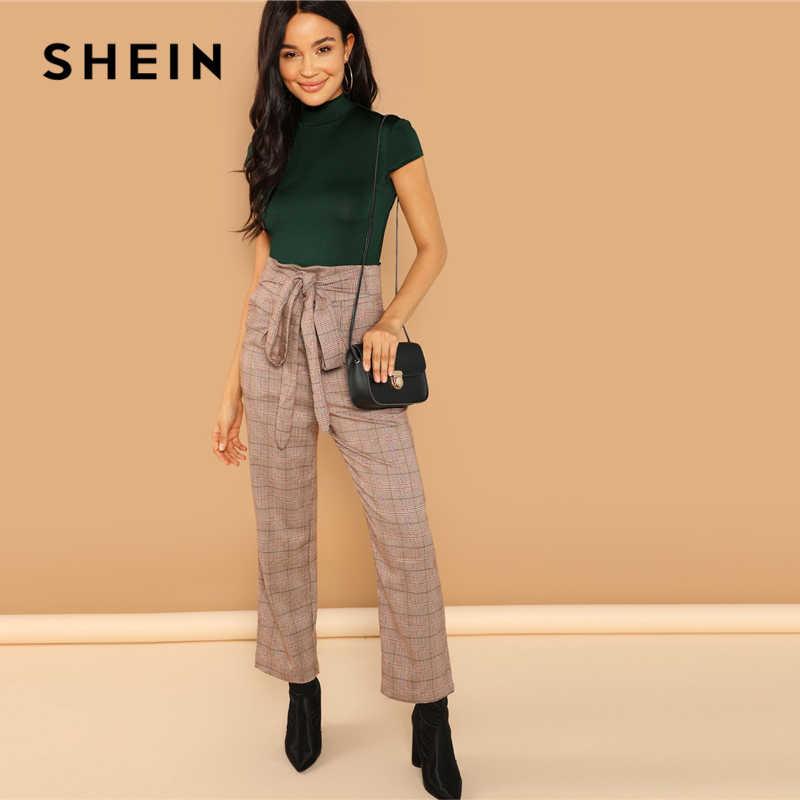 SHEIN зеленый офисный женский сплошной макет шеи тонкий приталенный стоячий воротник обтягивающий боди осень Минималистичная рабочая одежда женские боди