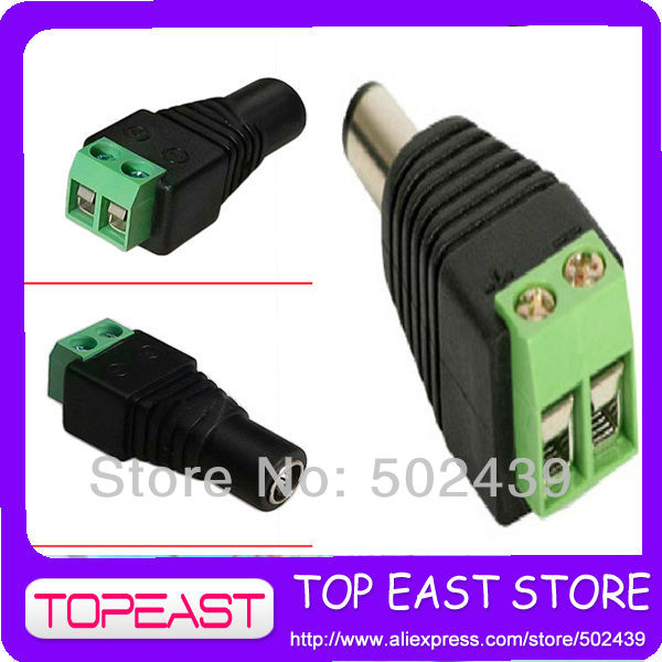 10Pairs 2.1x5.5mm female DC Power Jack Adapter Plug Cable Connector for CCTV CAMERA free shipping for most country