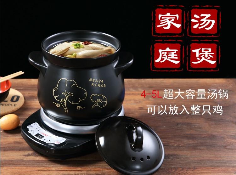 220 В 5L автоматическая керамические elecric горшок здоровья горшок воды тушить 8 часов назначение Кук медицина суп/кашу толще фарфор