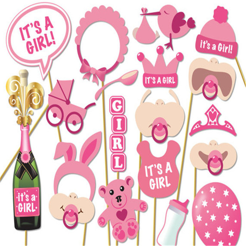 19Pcs set Its A Girl Pink Photo Booth Props Photobooth DIY Kits on Sticks Perfect Baby Shower Babyshower Decoration Favor Gifts in Photobooth Props from Home Garden