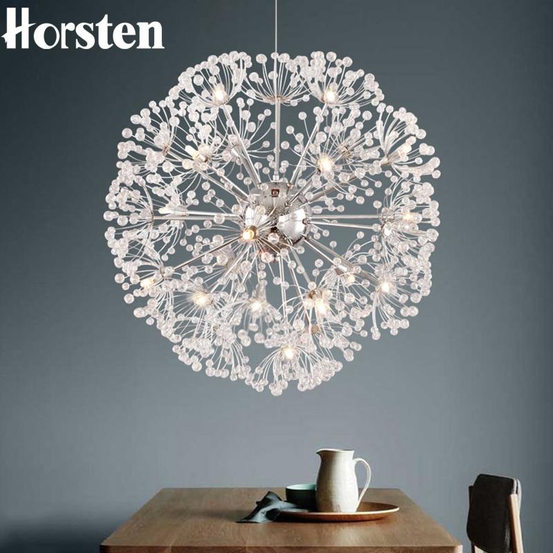 Horsten Modern Dandelion Led Crystal Ball Pendant Light
