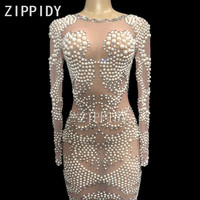 Luxurious Pearls Stones Long Sleeves Mesh Dress Women's Birthday Celebrate Evening Party Wear Female Singer Perspective Dresses