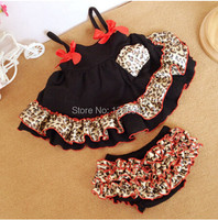 Cheetah Baby Swing Dress Cute Baby Bloomer Set Ruffle Swing Outfit With Satin Bow
