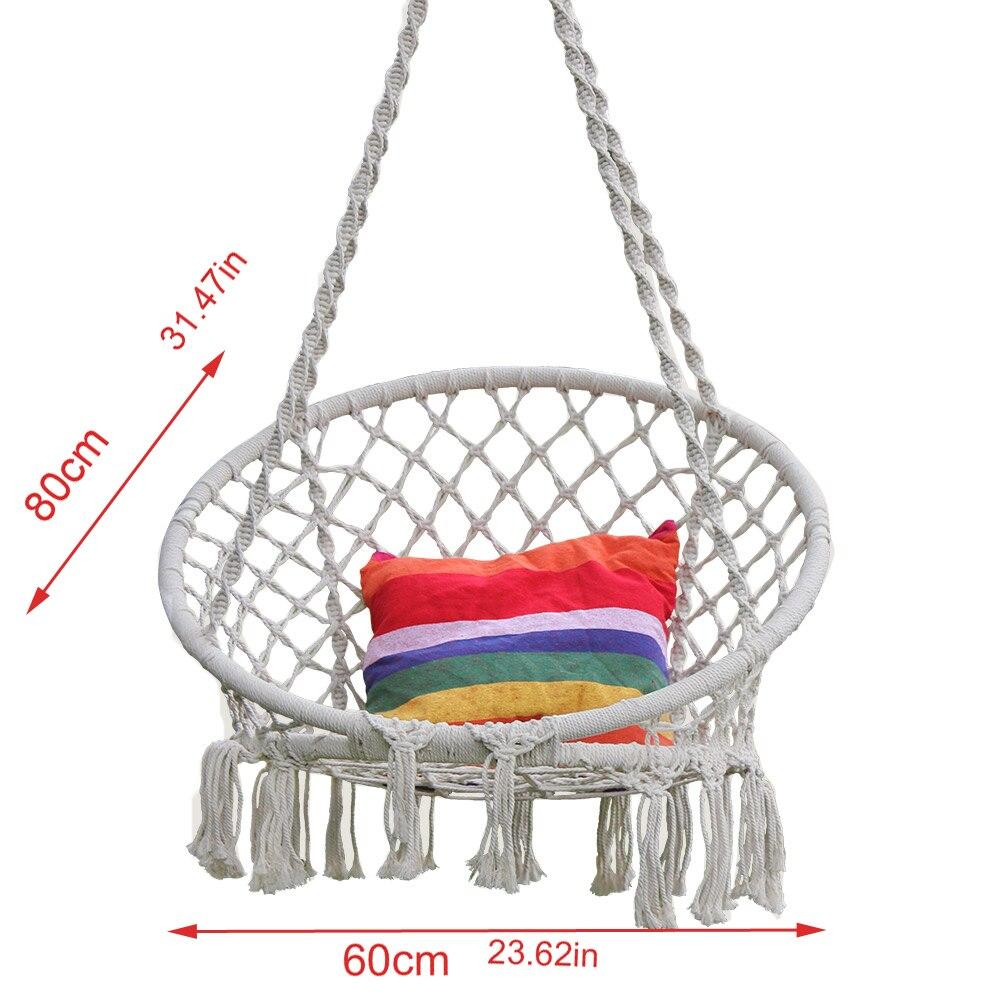 Hamac rond balançoire chaise suspendue mobilier d'intérieur extérieur hamac chaise pour jardin dortoir enfant adulte chaise de sécurité hamac - 5