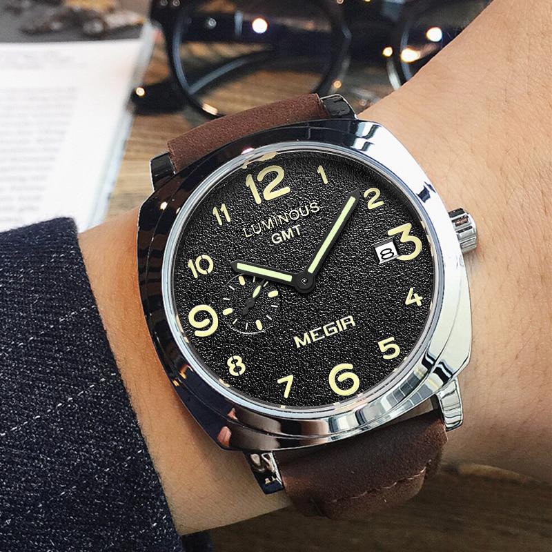 MEGIR Fashion Men Military Sports Watches Leather Luxury Brand Watch Men's Waterproof Quartz Wristwatches Male Relogio Masculino