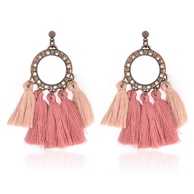 Fashion Round Drop Earrings Pink Brown Rose Red Woolen Tel Earring Vintage Ethnic Charm For
