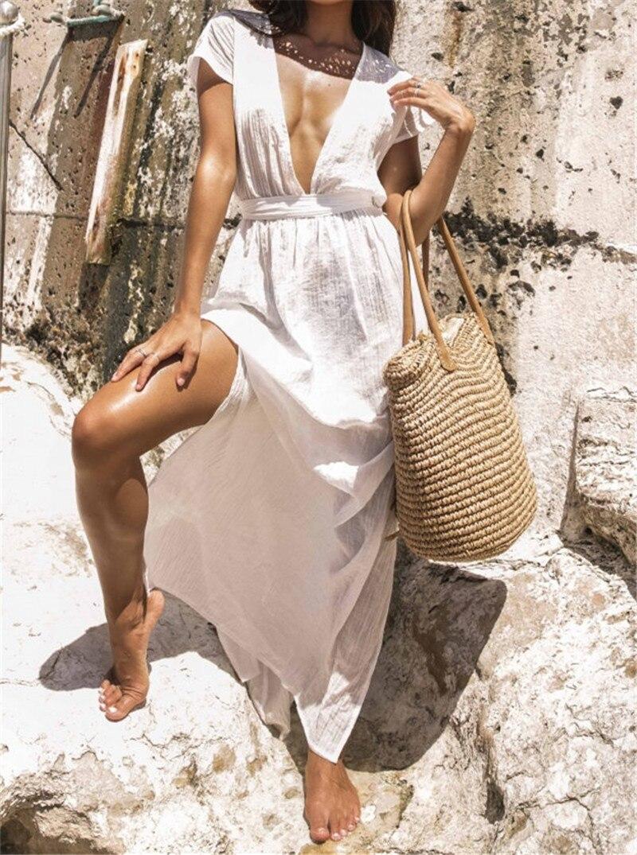 2019 Sexy Plunging Neck Open Back Beach Dress White Cotton Tunic Women  Summer Beachwear Plus Size Side Split Maxi Dress N681-in Dresses from  Women s ... 174b39697c2d