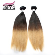 Hot Selling 100%  Straight 2pc Ombre 1B & #613 Ombre Hair Extension Weaves Sample Order Natural Black+#613 Ombre Virgin Hair