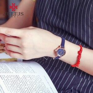 Image 5 - Женские часы Julius Japan, кварцевые часы, модный кожаный браслет, стразы, подарок на день рождения, Рождество
