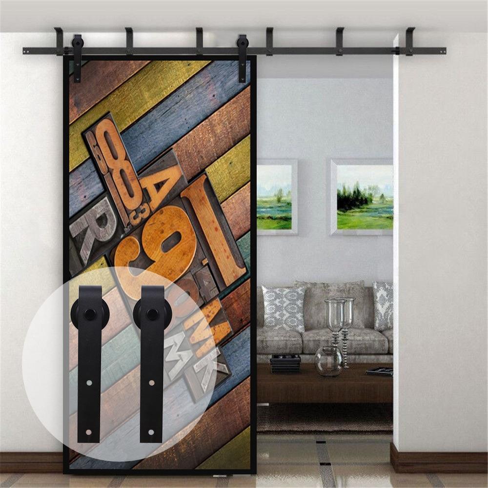 LWZH Ceiling Bracket Mount Sliding Barn Wood Door Hardware Kit 4 20FT J Shaped Black Rollers for Interior Sliding Barn Door