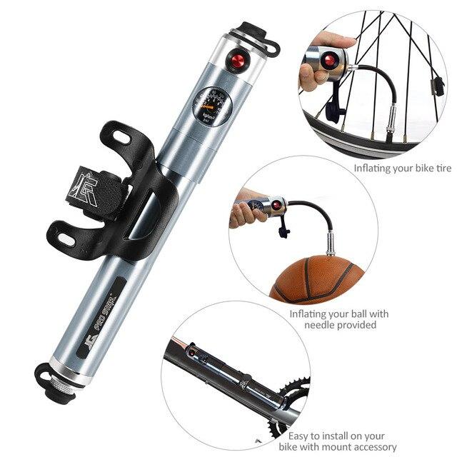 Bomba Manual de bicicleta 160PSI bicicleta bomba de presión de aire portátil Presta Schrader doble válvula de neumático con manómetro incorporado