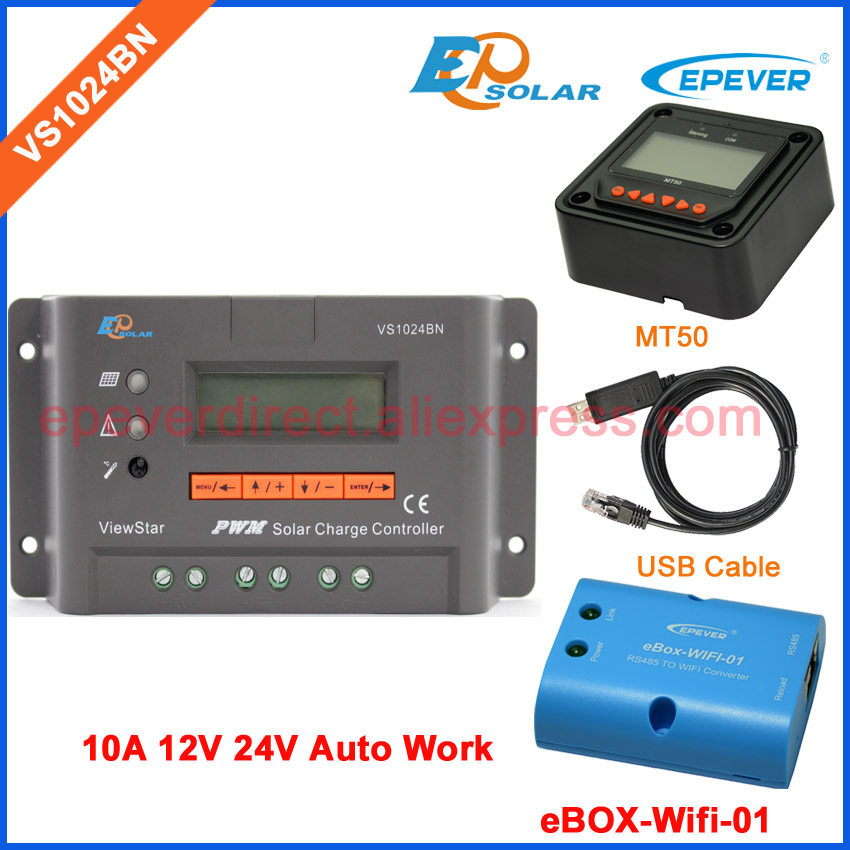 VS1024BN 12V off-grid solar system use 10A 10amp EPSolar/EPEVER Solar controller PWM wifi BOX MT50 Meter and USB cable 12v 24v auto work tracer1215bn for 12v 130w solar panel home system use 10a 10amp with wifi function usb cable and mt50