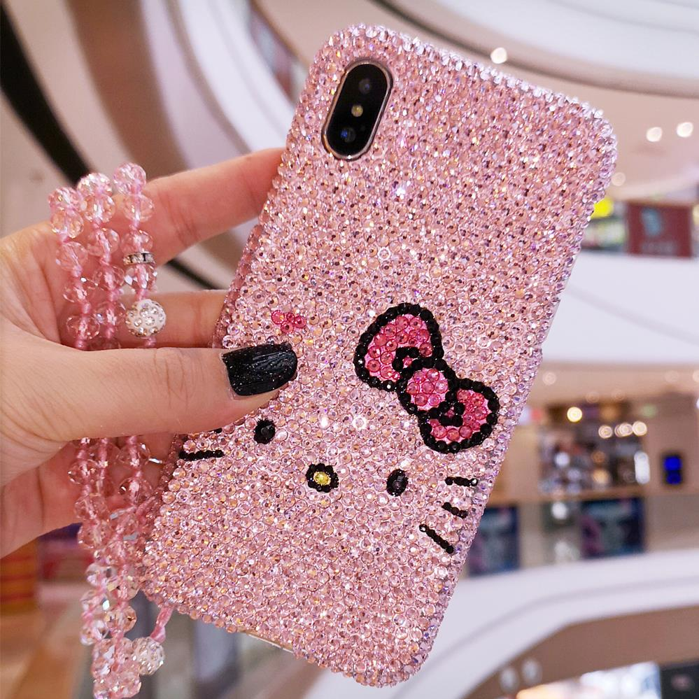 For <font><b>iPhone</b></font> XS max Luxury Bling Crystal bow <font><b>cat</b></font> Diamond <font><b>case</b></font> for <font><b>iphone</b></font> 8plus <font><b>8</b></font> 6 6Splus 7 7plus 11pro back <font><b>case</b></font> gift pink <font><b>case</b></font> image