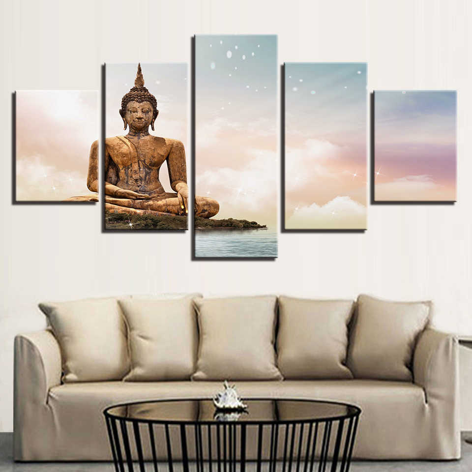 Direct Selling Art Spray Painting Classic Hallway Hd Prints 5 Set Poster Modular Pictures Buddha Portrait Wall Canvas Home Decor