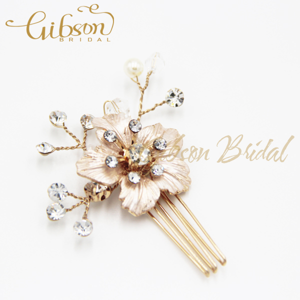 Free Shipping Golden Dasiy Floral Bridal Hairpins Wedding Hair Accessory