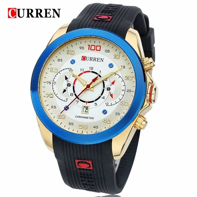 CURREN Mens Watches Brand Luxury Black Sillicone Waterproof Clock Men Analog Quartz Watch Men Sport Wristwatch Relogio Masculino fashion luxury waterproof analog men sport watch chronograph mens leather watches male clock quartz wristwatch relogio masculino