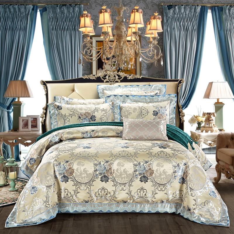 4Pieces King Queen size Luxury Satin Cotton Wedding Royal Bedding set Duvet cover Bed sheet set