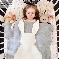 New 2017 Baby Blanket Cotton Kids Blankets Knitted Bedding Cover Appease Rabbit Newborn Swaddle 110 130cm
